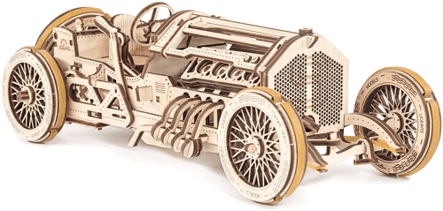 an image of the UGears U-9 Grand Prix wooden model kit, one of our 40th birthday gifts for him suggestions