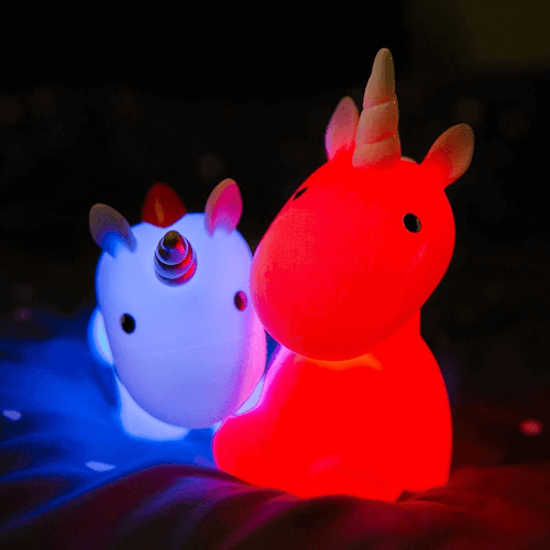 an image of a colour changing unicorn night light - one of our picks of unicorn gifts for girls
