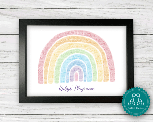 an image of a personalised rainbow word art print - one of our ideas for personalised rainbow gifts