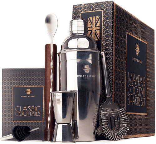 an image of a stainless steel cocktail making set