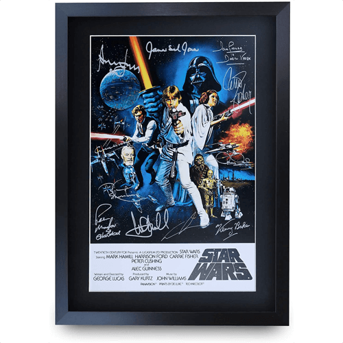 an image of a signed printed a3 star wars movie poster