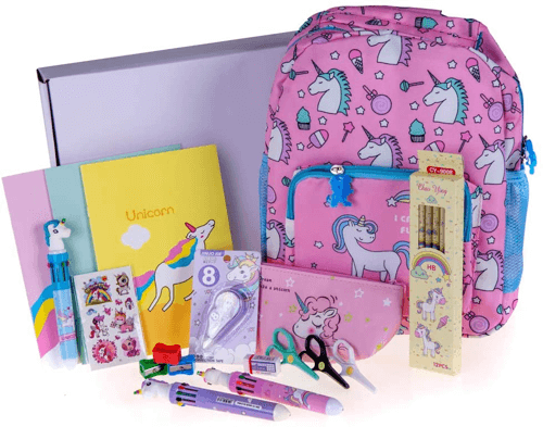an image of a unicorn accessories backpack and stationery set