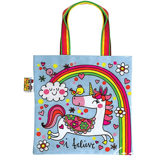 an image of a small unicorn tote bag for girls - one of our picks of unicorn gifts for girls
