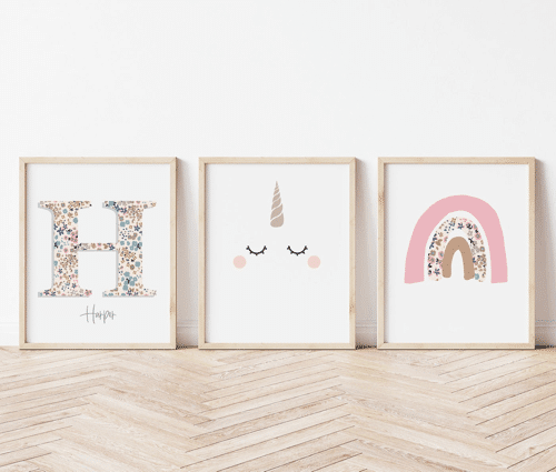 an image of a set of three personalised unicorn prints - one of our picks of personalised unicorn gifts