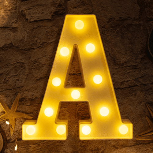 an image of a letter a led light