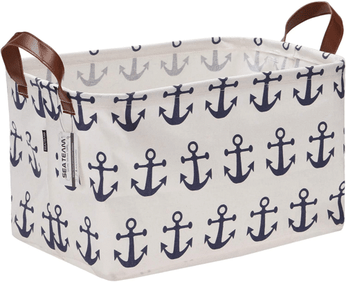 an image of an anchor pattern canvas storage box